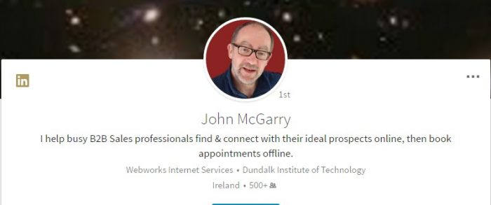 LinkedIn headline when viewing LinkedIn Profile