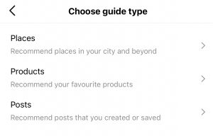 Instagram Guide type